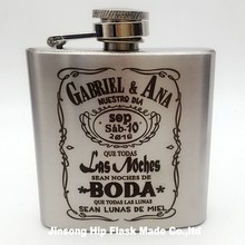 Personalized logo laser on the  3 oz stainless steel liquor hip flasks with screw cap,Bride and Groom name can be engraved