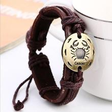 12 Constellation Genuine Leather Bracelet For Women Men Jewelry Charm Bracelets Friends Bijouterie Birthday Present Accessories(China)
