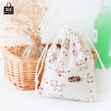 Cute cat printed cotton linen fabric dust cloth bag Clothes socks/underwear shoes receive bag home Sundry kids toy storage bags(China)