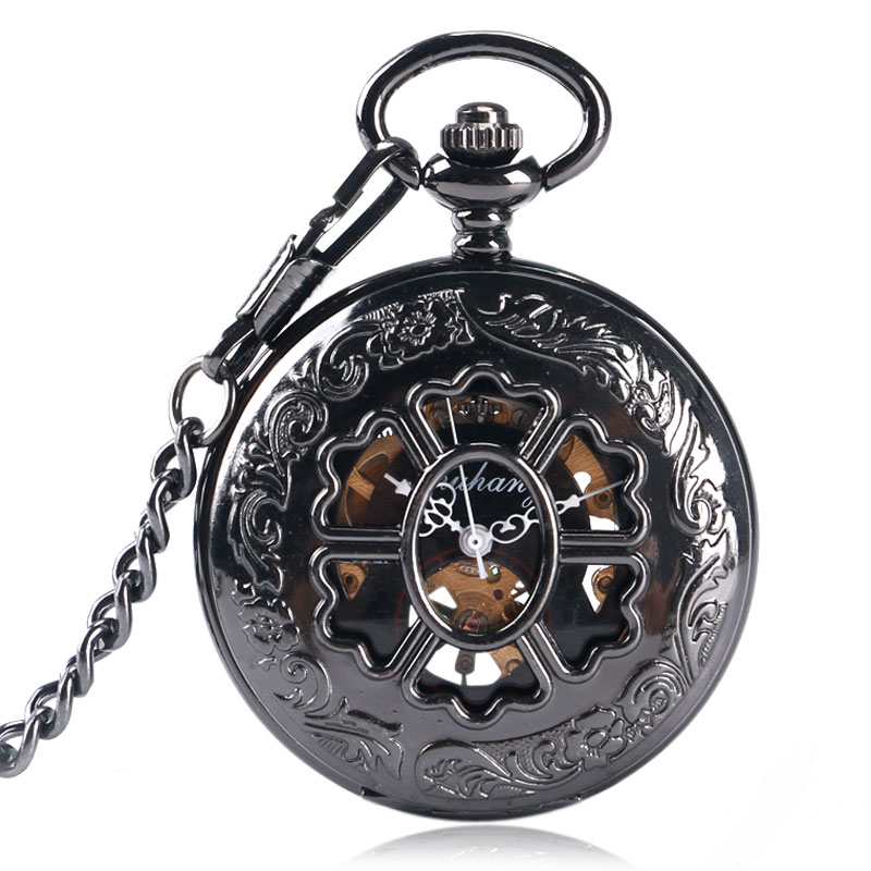 Vintage Skeleton Flower Design Fob Clock Steampunk Roman Numerals Pocket Watch Mechanical Hand-winding Men Ladies Gift P2054C<br><br>Aliexpress