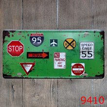 "License plate "" Traffic sign"" Garage poster Metal wall Art painting iron sign House Cafe Bar decoration 15*30CM(China)"