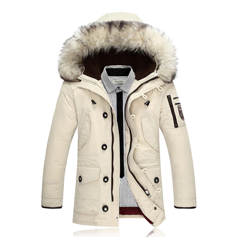 2017 Men White Duck Down Coat Winter Jackets Parka Mens Brand Clothing Rabbit Fur Parka Jackets Male Roupas Feminina Down Jacket