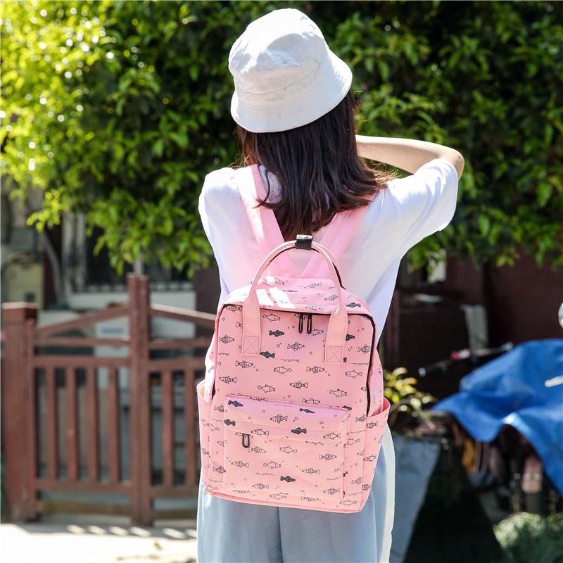 Menghuo Fish Printing Women School Bag Backpack for Teenage Girls Backpacks Female Canvas Children Schoolbag Women Bag s (45)