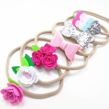 12pc/lot New Fashion Flower Stretch Nylon Headband White Felt Floral Elastic Hair Band Silver Leather Bow Pink Heart Hairbands(China)