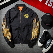 2017 New Spring Women Basic Coat Bomber Ma1 Jacket Pilot Black Angel Wing Embroidery Casaco Men Streetwear Thin Outerwear Coats
