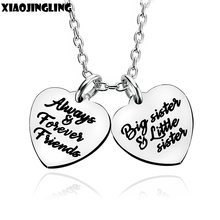 XIAOJINGLING Charm Peach Heart Pendants Necklaces 'Always Forever Friends Big sister Little Sister' Women Long Necklace Birthday(China)