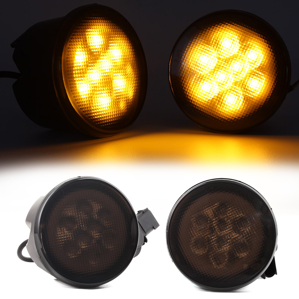 2pcs LED White DRL Daytime Running Light Yellow Turn Signal Lamp For 07-15 Jeep JK Wrangler Free Shipping<br>