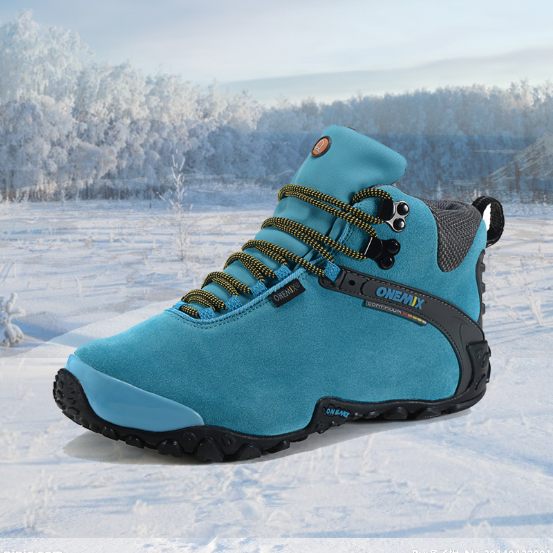 Onemix 2016 autumn winter women outdoor sport shoes anti slip sport shoes and wool lining women hiking shoes warm trekking shoes<br>
