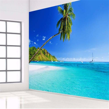 beibehang custom photo 3d wall paper Mediterranean palm mural TV backdrop blue sky clouds large wall mural wallpaper for wall 3d(China)