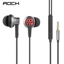 Stereo Earphone With Mic, ROCK Y5 In Ear Earphones HIFI Bass 3.5mm Headset Earbuds With Microphone for iPhone Xiaomi Sony(China)