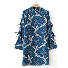 Fairy crane print Chinese style collar with hollowed-out sleeves Chinoiserie style(China)