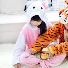 Children girls Cute hello kitty onesie cosplay pajamas pyjama Animal onesies Kids winter jumpsuit Christmas cosplay costume