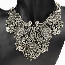 Vintage Tibet Silver Plated Flower Hollowed Statement Bib Chain Pendant Statement Necklace for Woman Choker Necklace(China)