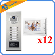"7"" Video Intercom Doorbell 12 Units Intercom Kits Apartment Wired Video Door Phone RFID HID Card Audio Visual Intercom System(China)"