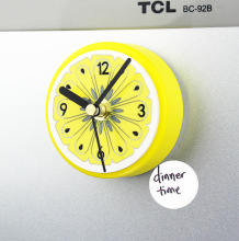 Modern Designer Circular Fruit Orange 3D Digital Refrigerator Wall Clock Magnets Self Adhesive Clock Fridge Magnet Kitchen Watch(China)
