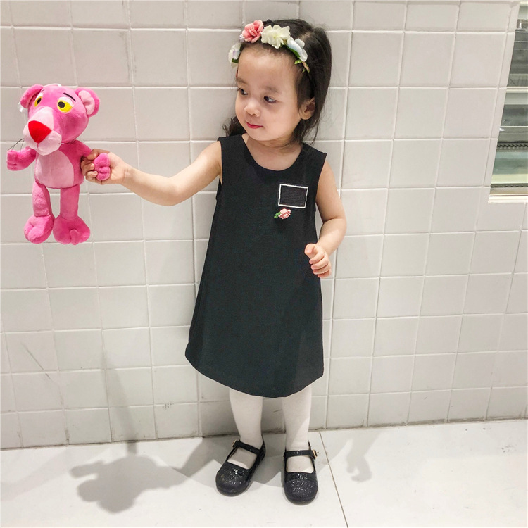 2018 Baby Spring Sleeveless Dress Black A-Line Cute Style Baby Girls Dress Solid Pullover Children Clothes For Girls <br>