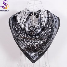 [BYSIFA] Winter Women Men Square Scarves New Arrival Black Grey Silk Scarf Printed 90*90cm Spring Autumn All-Match Scarves Wraps(China)