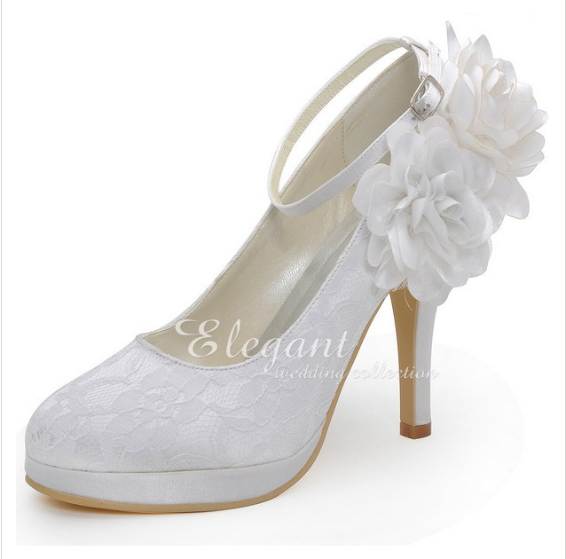 High Heel Lace Flower Wedding Dress Shoes Ankle Strap Lady Shoes Woman Formal Shoes Sweetness Bridal Shoes Platform<br><br>Aliexpress