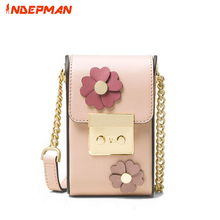 Mini Chains Floral Design Cell Phone Pink Messenger Bag for Women Waterproof Pu Leather Small Flap for Teenage Girls(China)