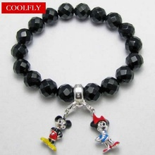 Thomas Style Faceted Obsidian Beads Charms Bracelet with Mickey Minnie Mouse Charm Fashion Bracelets Jewelry in Silver For Women(China)