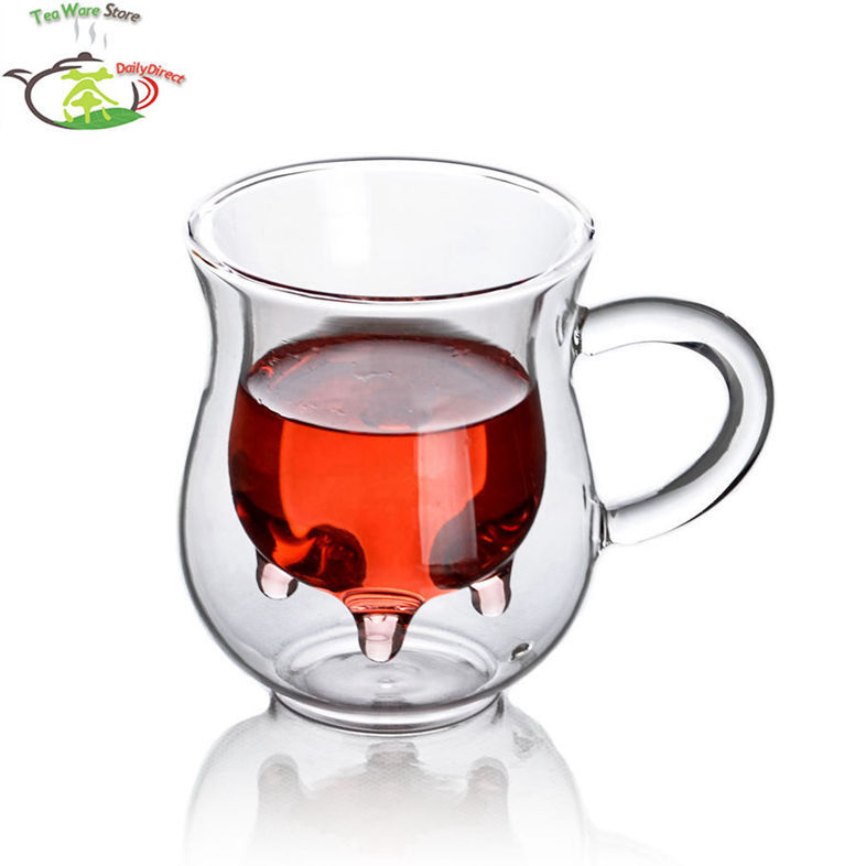 1x 6.76fl.oz/200ml Glass Double Wall Creative Cow Milk Cup Mug With Handle Cow Udder Style Creamer Pitcher Double-Walled Jug(China)