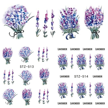 1 Sheet Nail Stickers Water Transfer Decals Lavender Pattern Purple Bouquet Nail Sticker DIY Decor Tattoo Tips LASTZ513-514