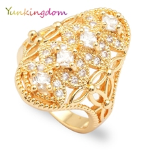 Yunkingdom elegant fashion crystal rhinestone rings for women ladies female costume jewelry wholesale(China)