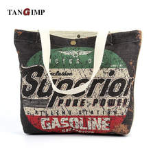 TANGIMP Vintage Letters Printed Tote Bag Women Heavy Duty Eco Cotton Linen DIY Crafts Grocery Shopping Beach Bags Handbags(China)