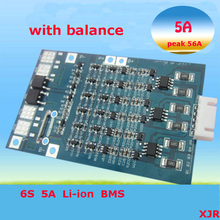 6S 5A 25.2V lipo lithium Polymer BMS/PCM/PCB battery protection circuit board for 6 Packs 18650 Li-ion Battery Cell w/ Balance