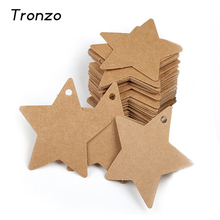Tronzo 50pcs/lot DIY Kraft Paper Tag Star Hang Tag Wedding Christmas Halloween Decoration Paper Cards Gift Bag Wrapping Supplies