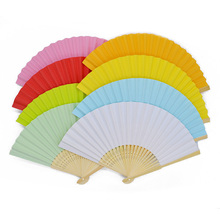 1Pc New Chinese Style Hand Paper Fans Pocket Hot Summer Folding Bamboo Fan Wedding Party Decoration Event Party Favors Supplies(China)