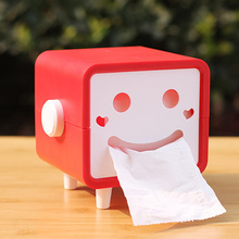 DIY cute cartoon smiley square rotatable roll paper towel boxes rectangular tissue pumping storage box toilet roll holder tray