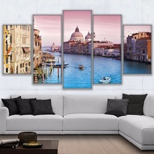 Canvas Painting Wall Art Frame Home Decor 5 Pieces Venice Grand Canal Pictures HD Prints Water City Boat Sunset Landscape Poster(China)