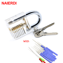 NAIERDI 12PCS Blue Broken Key Removing Hooks Lock Locksmith Tool With Transparent Visible Pick Cutaway Practice Padlock Lock