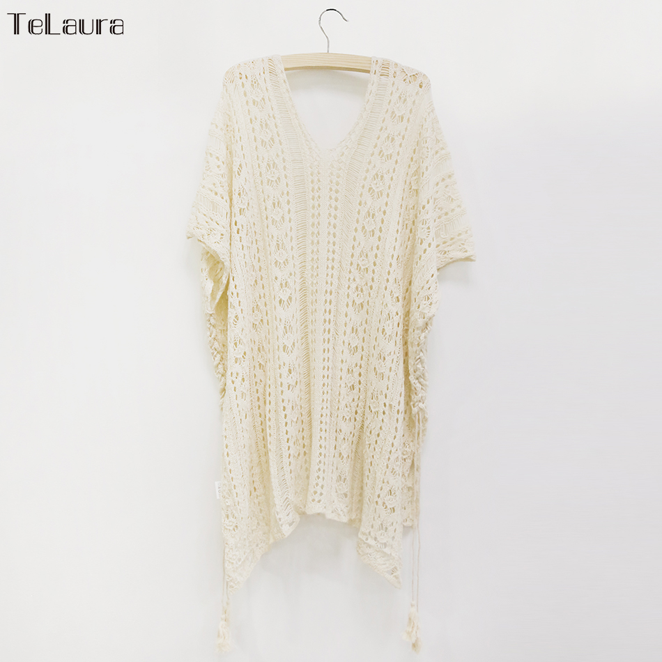 2018 New Beach Cover Up Bikini Crochet Knitted Tassel Tie Beachwear Summer Swimsuit Cover Up Sexy See-through Beach Dress 18