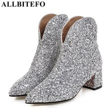 Buy ALLBITEFO thick heel Sequin cloth women boots brand medium heel martin boots woman ankle boots girls shoes plus size:33-43 for $94.70 in AliExpress store