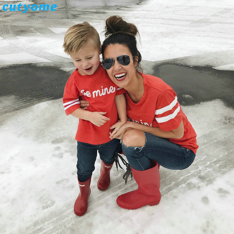 Mother And Daughter Son Clothes Family Matching Clothing BE MINE Short Sleeve T-Shirts Mom Daughter Matching Outfits Tee Shirts (3)