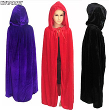 Children Black Velvet Hooded Vampire Cape Halloween Party Cloak Size S-L cosplay death Retro Gothic heroic kid purple red Cloak(China)
