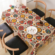 Best Sale Lace Edge Linen Cotton Table Cloth Bohemia Table Covers Sunflower Printed(China)
