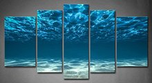 5 Panels HD Unframe Wall Art Blue Ocean Bottom View Beneath Surface Oil Painting Canvas Seascape Pictures For Home Decor