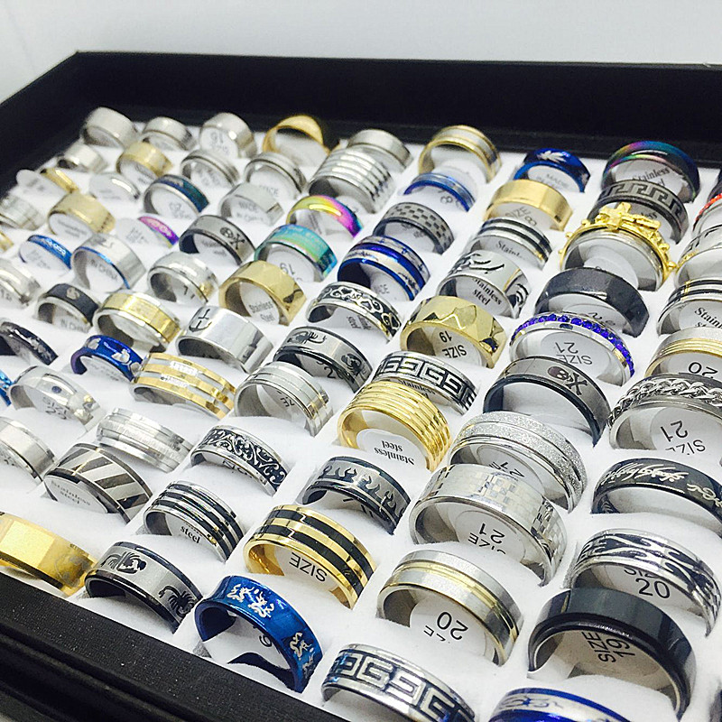 Unisex Set Of Stainless Steel Rings [ 100 piece lot ] 5