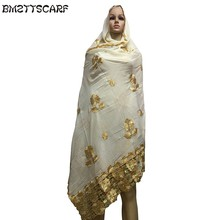 African Scarfs Cotton Muslim hijab scarf/ Muslim embroidery head scarf with rhinestones for women scarves BM520(China)