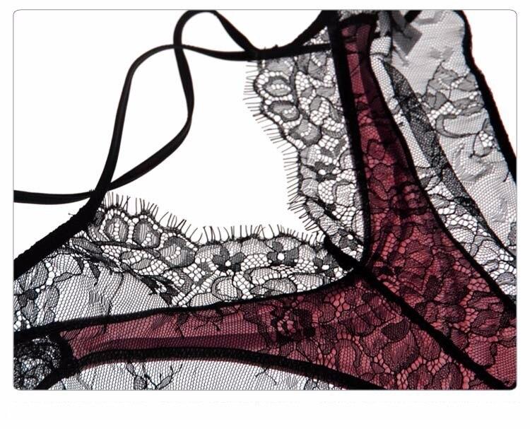 Munllure Ultra-thin sexy lace bra set eyelash lace transparent thin wireless triangle bra and pantiles set women underwear set 24