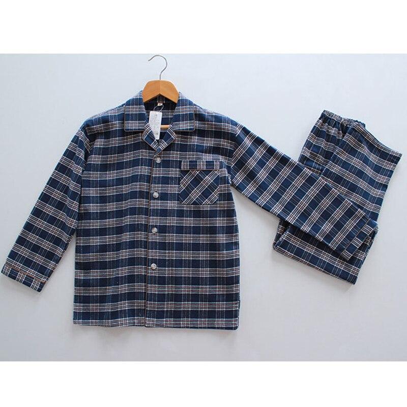 100% Cotton Plaid Men Night Shirts + Pants Pajama Set Long Sleeve Men `s  Clothing Home Suit Sleepwear Casual Pijama Hombre 226b48603