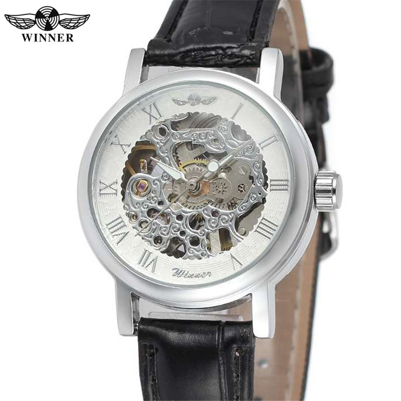 New WINNER Casual Watch Women Lady Business Skeleton Clock Automatic Mechanical Top Brand Luxury Leather Wrist Watches BOX 0299
