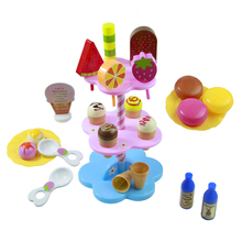 22pcs DIY Play Desserts Ice Cream 3+ Children Kids Baby Classic Toy Pretend Play Kitchen Food Sweet Treats Plastic Toy No Box