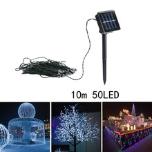 10M 50LED Solar String Fairy Light Outdoor Garden Tree House Party Wedding Xmas Christmas Curtain Icicle Decoration Light FULI