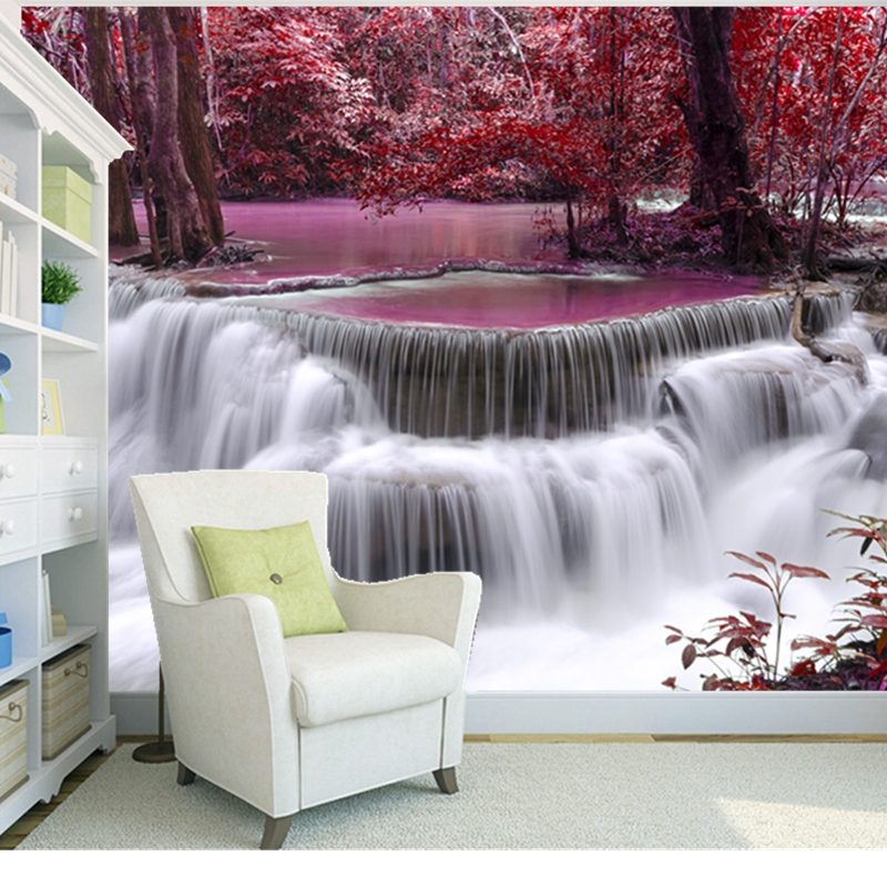 Custom natural scenery wallpaper,Forest of waterfalls,3D photo mural for living room bedroom wall PVC wallpaper<br><br>Aliexpress