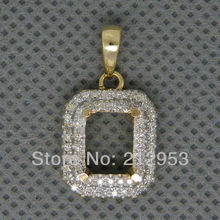Vintage pendant design Emerald Cut 6x8mm 14Kt Yellow Gold  Semi mount Pendant 2T018