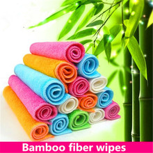 Wholesale 50pcs 100% Bamboo fiber washing cloth Magic Multi-function Kitchen cloths ANTI GREASY wipeing cleaning rags(China)